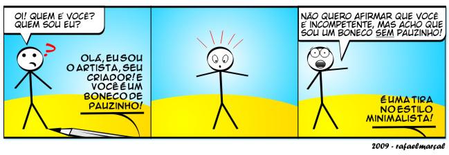 A criação | webcomic, tirinhas, tirinha, tira, sarcasmo, relacionamento, quadrinhos, Proféticos, namoro, mulher, ironia, humor, hq, homem, casal, boneco de pauzinho