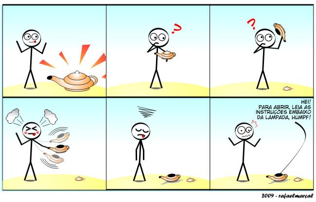 Lâmpada Mágica | webcomic, tirinha, tira, sarcasmo, relacionamento, quadrinhos, namoro, mulher, lâmpada mágica, humor, hq, homem, gênio, desenho, casal, boneco de pauzinho, Amizade