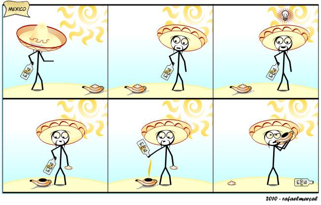 Hasta la vista, Gênio. Parte 2 | webcomic, verão, tirinha, tequila, sol, relacionamento, quadrinhos, namoro, mulher, méxico, humor, hq, homem, curiosidade, copo, casal, bebida, beber, alcoolismo, alcool