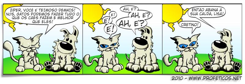 Zíper e Lisa, quem é melhor? | Zíper, webcomic, tirinhas, tirinha, tira, relacionamento, quadrinhos, namoro, mulher, ironia, humor, hq, homem, gato melhor que cachorro, gato, cinismo, casal, cachorro melhor que gato, cachorro, banho de gato, Amizade, abana o rabo