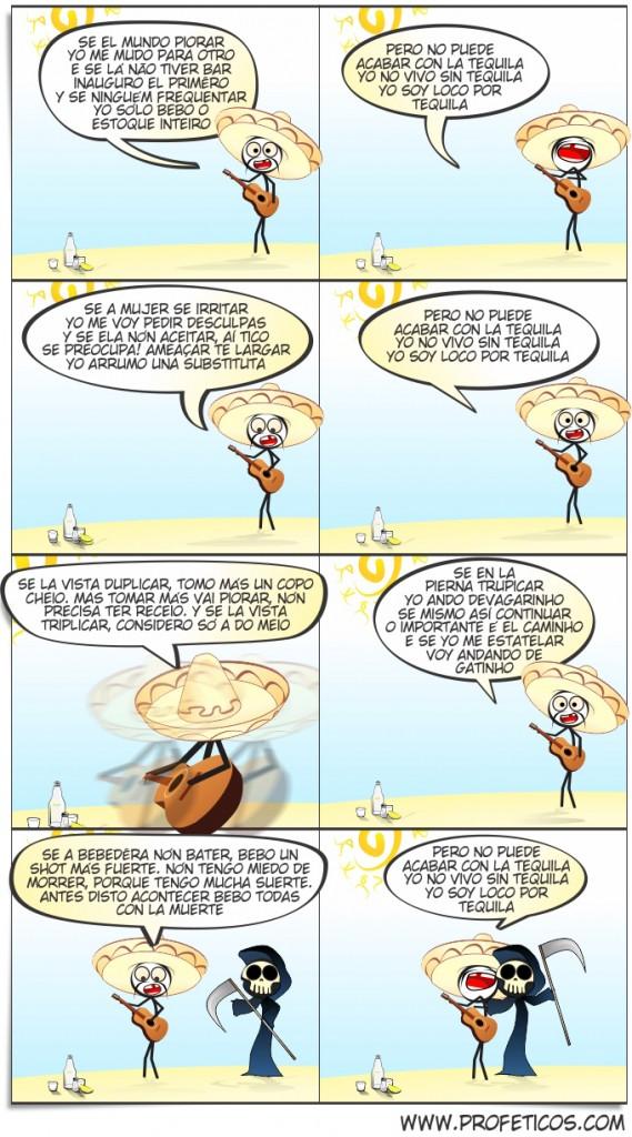 Yo nón vivo sin Tequila | webcomic, tirinha, tico tequila, tequila, relacionamento, quadrinhos, paródia, namoro, música, mulher, morte, mané, humor, hq, homem, dá o play, casal
