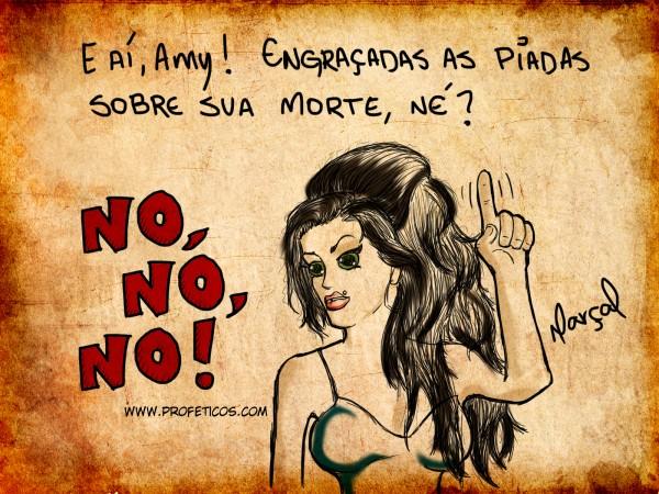 Piadas sobre a morte de Amy Winehouse | Versão Profética, relacionamento, rehab, piadas, no no no, namoro, mulher, morte, humor, homem, desenho, charge, casal, caricatura, Amy Winehouse