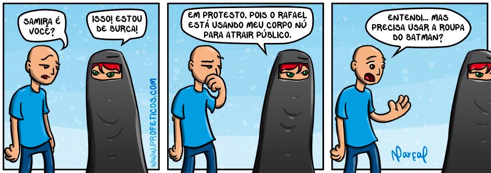 Samira e Paulito em Protesto | webcomic, tirinha, tira, roupa, relacionamento, protesto, polêmica, pelada, nudez, mulher, humor, hq, homem, casal, burca, abuso