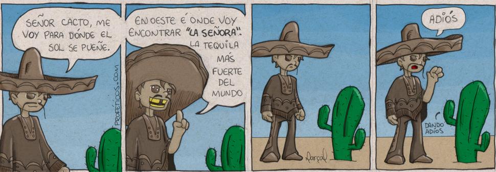 Tico Tequila Rumo a Oeste | webcomic, tirinha, tira, tico tequila, tequila, relacionamento, oeste, mulher, méxico, la señora, humor, hq, homem, casal, cactus