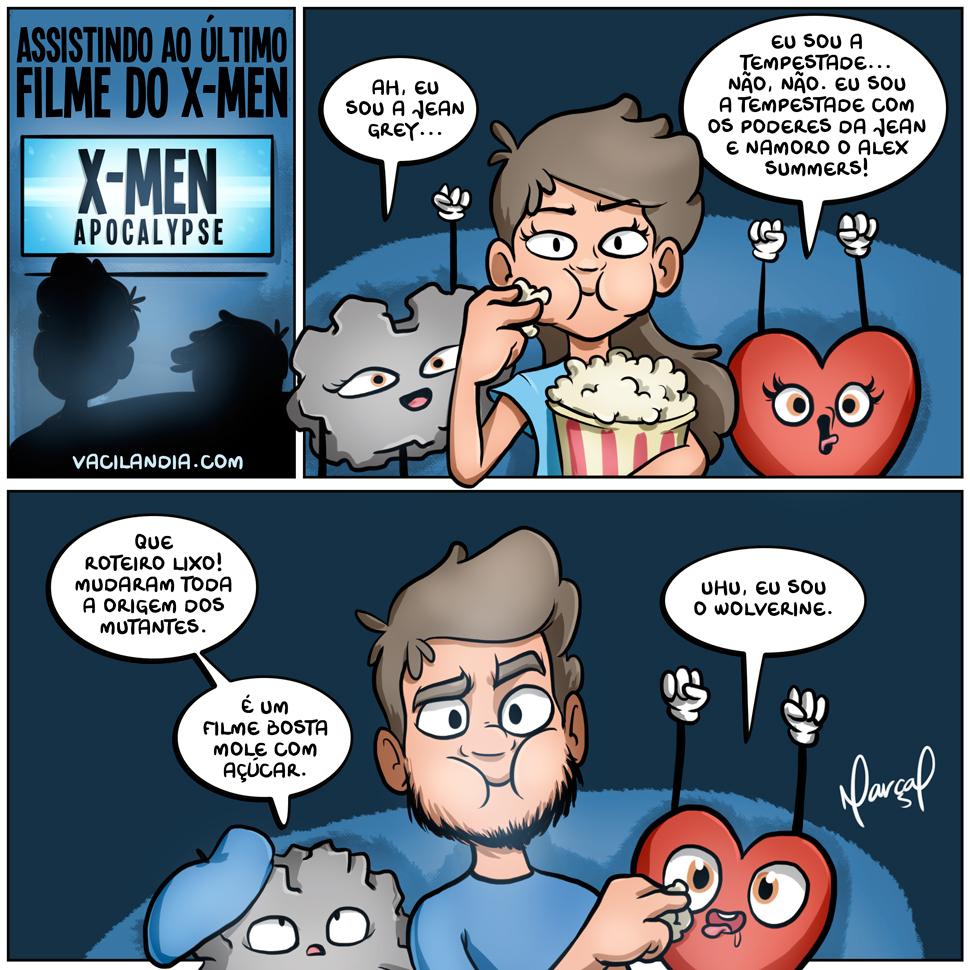 Bocós assistindo ao último filme do X-men | x-men, wolverine, webcomic, tirinha, sommelier, roteiro, nostalgia, inteligência, humor, heróis, filme, emocional, crítico de cinema., cinema, bocós, bocó, assistir com o coração, assistir com o cérebro
