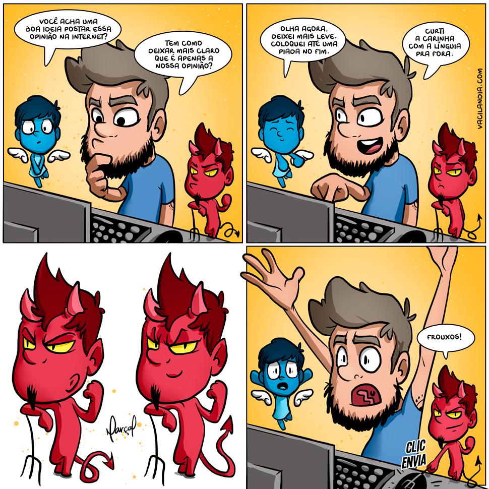 Bocós e as opiniões | webcomic, tirinha, postar, opinião, internet, humor, hq, frouxo, fato, diabinho, covarde, coragem, computador, bocó, Anjinho, amor