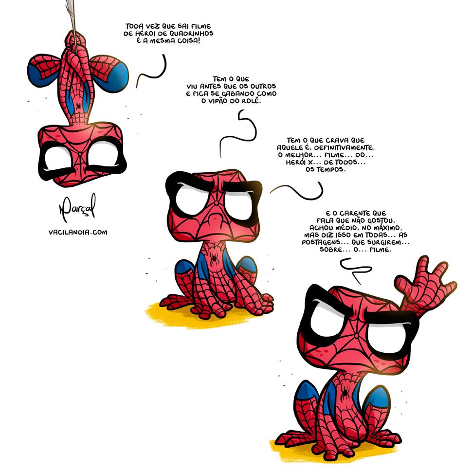 Zinza e o último filme de herói de quadrinhos | zinza, webcomic, warner, tirinha, ranzinza, rã zinza, opinião, nerds, marvel, maria vai com as outras, humor, homem-aranha, filme, fato, dc, críticos, bom