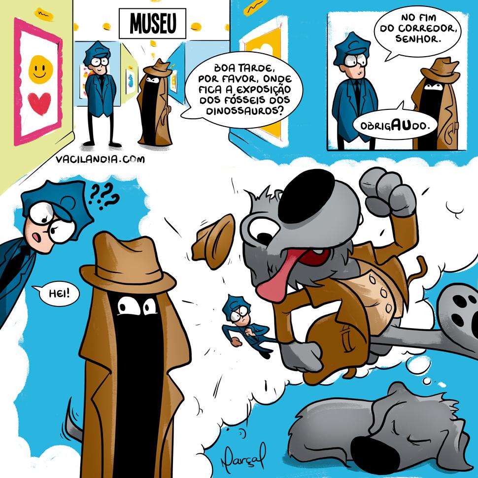Zíper no museu... | webcomic, tirinha, sonho, pet, osso, museu, humor, guarda, dinossauro, correr, Cão, cachorro