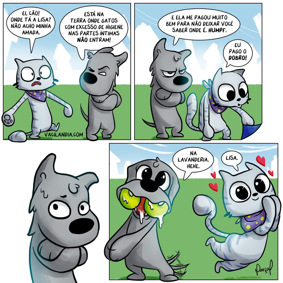 Zíper e Lisa e o Gato Estranho 3 | Zíper e Lisa e o Gato Estranho 3, Zíper, webcomic, tirinha, suborno, pet, Lisa, humor, gatos, gato na lavanderia, estimação, Cão, cachorro, bola, animal, amor, amando, acasalamento