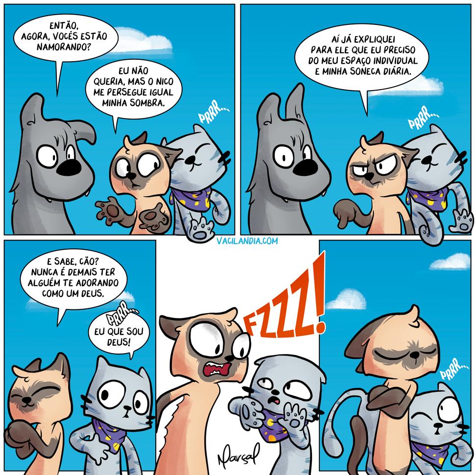 Lisa e o Namoro! | Zíper, webcomic, tirinha, relacionamento, pet, Nico, namoro, Lisa-e-Zíper-e-o-namoro, Lisa, gato, felino, Deus, Cão, cachorro, adorar
