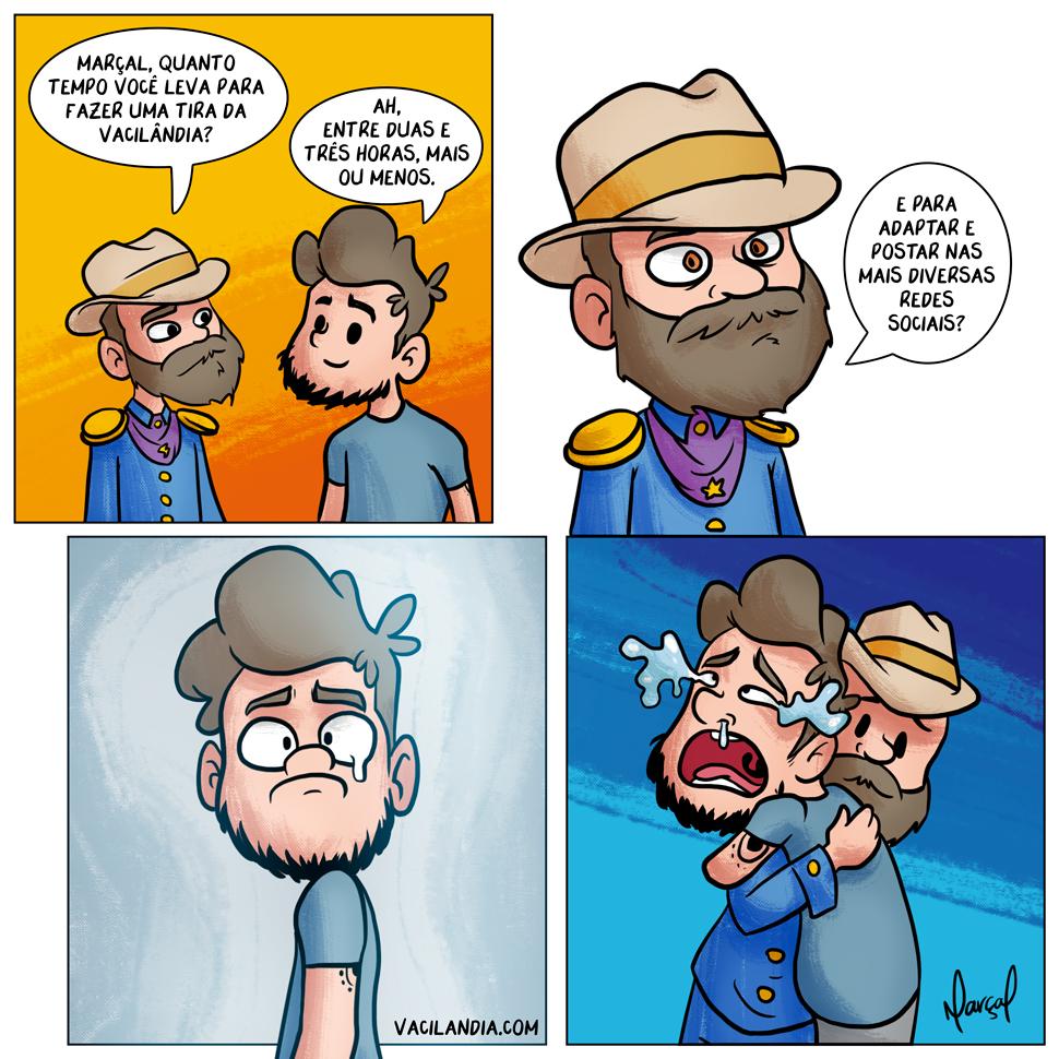 Bocós: Quanto tempo leva para fazer uma tirinha? | webcomic, tempo, roteiro, redes sociais, humor, hq, fazer uma tirinha, escrever, divulgar, desespero, desenhar, choro, bocó