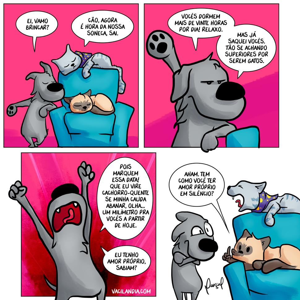 Zíper e Lisa - Amor próprio | webcomic, tirinha, rabo, proprio, humor, hq, gato, dormir, Cão, amor, Amizade, abanar