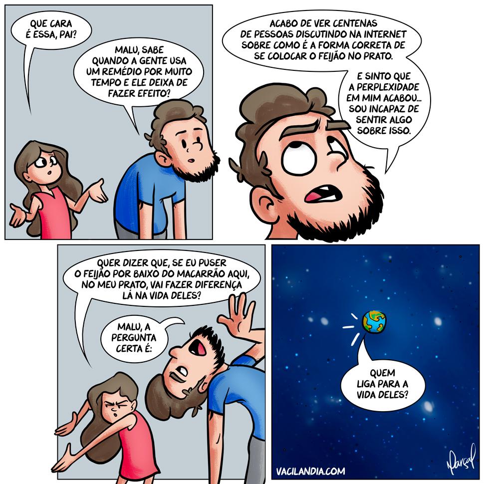 Bocós e o Que Importa? | webcomic, tirinha, opinião, o que importa, humor, hq, futilidade, ego, discussão, costume, comida, casca de nós, algoritmo