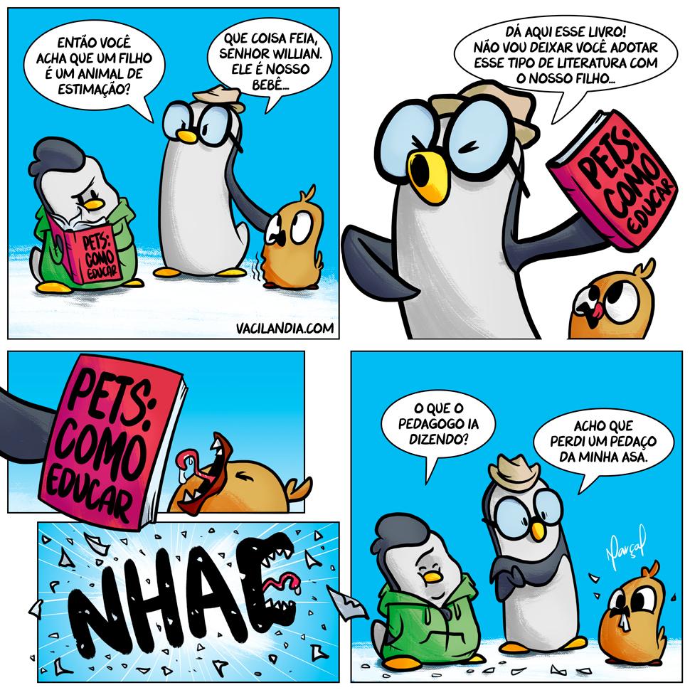 Will e Wes: Educando o bebê | Will e Wes, webcomic, tirinha, pet, livro, humor, fome, educar, criar filho, casal, apetite