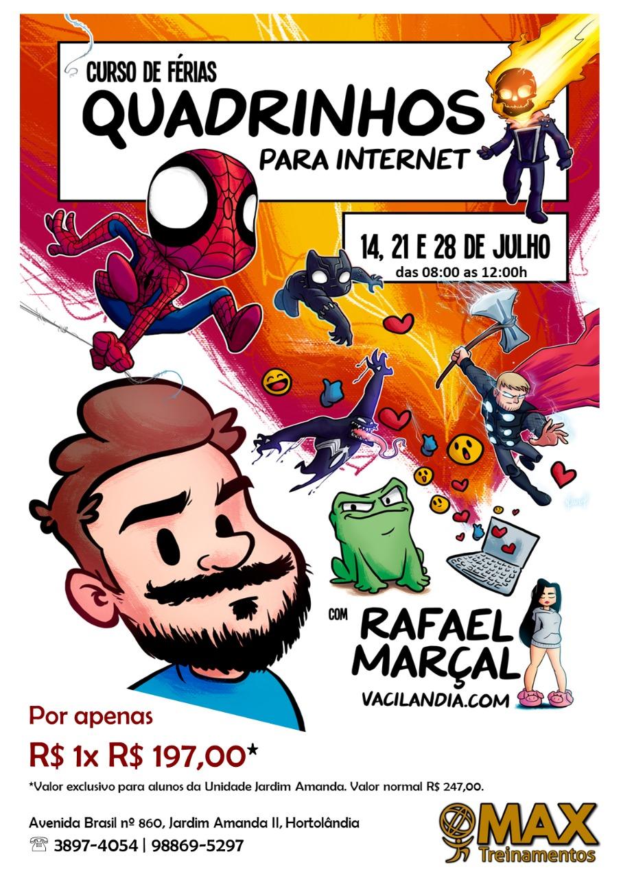Curso de Férias: Quadrinhos para Internet - Julho 2018 | Rafael Marçal, quadrinhos, max treinamentos, internet, curso de férias, curso