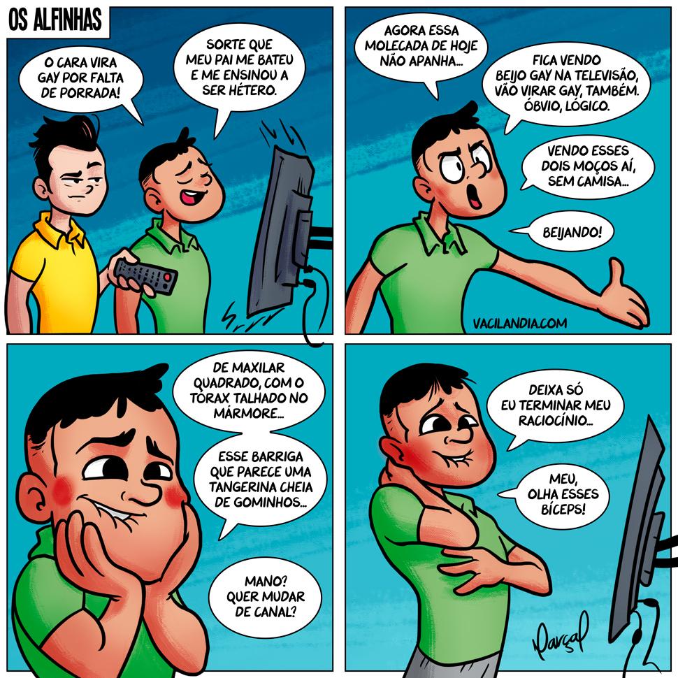 Os Alfinhas e a Homossexualidade na Mídia | webcomic, tirinha, midia, macho alfa, humor, homossexual, homi, homem, hétero, gay, esquerdista, direitista, direita, coxinha, alfinhas, agenda