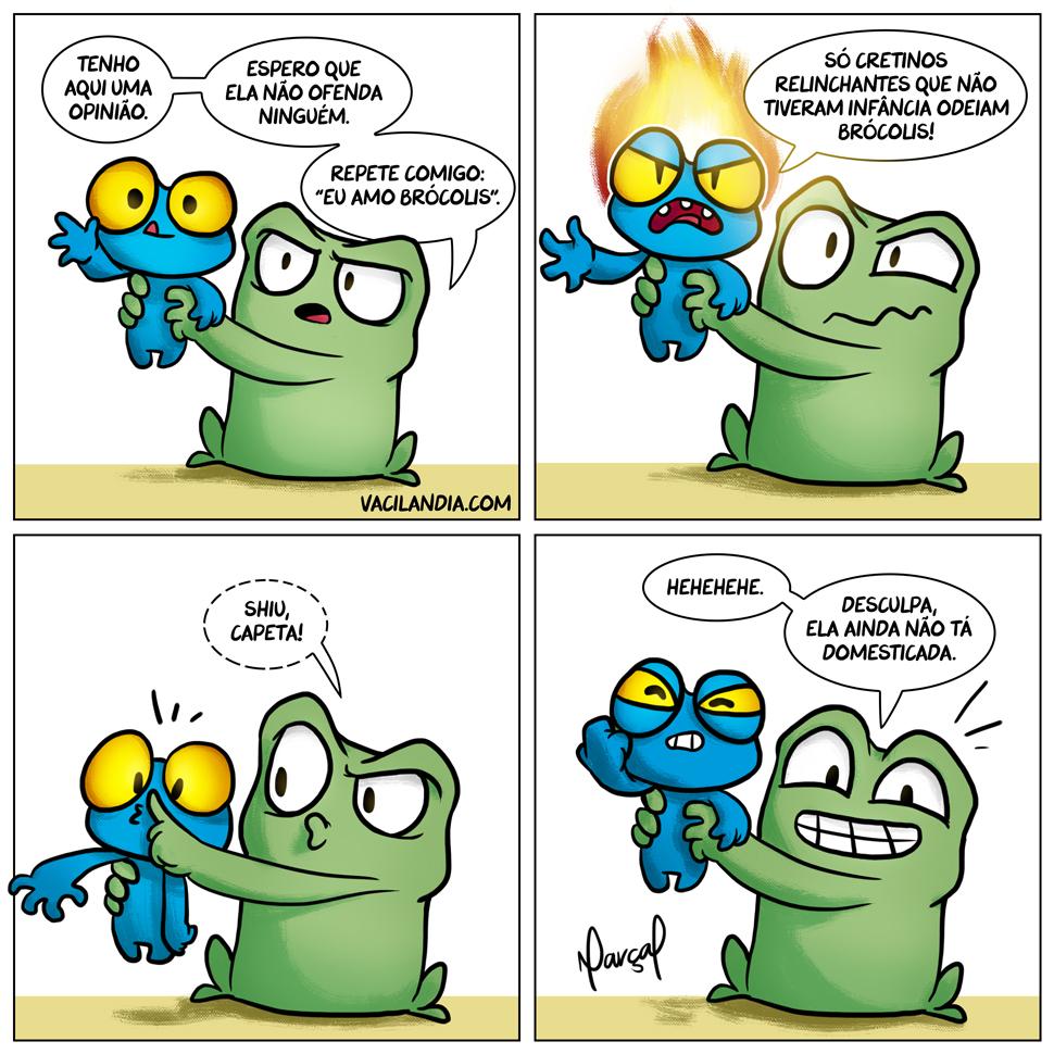 Rã Zinza apresenta: Opinião | zinza, webcomic, tirinha, selvagem, rã zinza, rã, opinião, mau humor, humor, franqueza, educação, domesticada