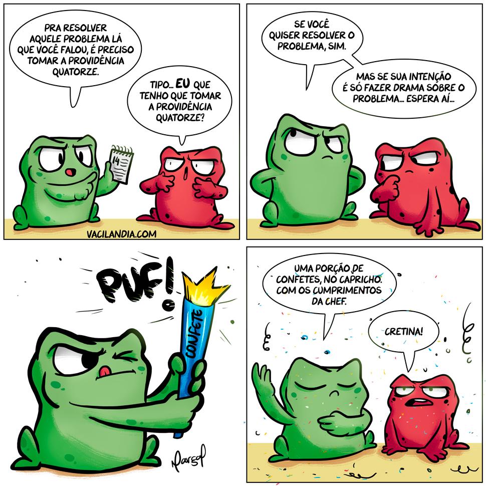 Rã Zinza e a providência 14 | zinza, webcomic, tirinha, stress, solucionar, solução, reclamar, rã zinza, rã nheta, rã, providência, problema, opinião, nhêta, meme, mau humor, mal humorada, humor, confete