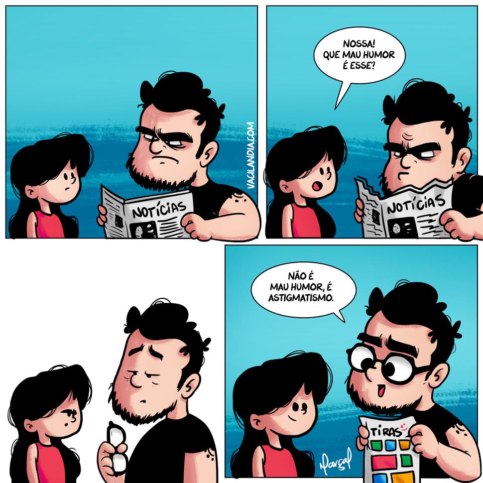 Bocós e o Motivo do Mau Humor | webcomics, tirinha, série, miopia, memes brasileiros, meme, mau humor, humor, hq, hipermetropia, bravo, bocós, bocó, baixa visão, astigmatismo