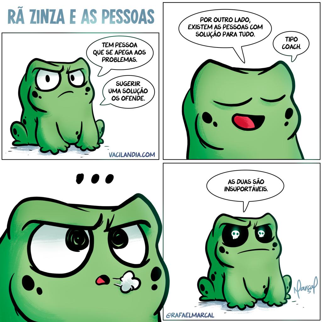Rã Zinza e as pessoas | webcomic, tirinha, ranzinza, rã zinza, rã nheta, pessoas, pessimista, otimista, mau humor, insuportáveis, humor