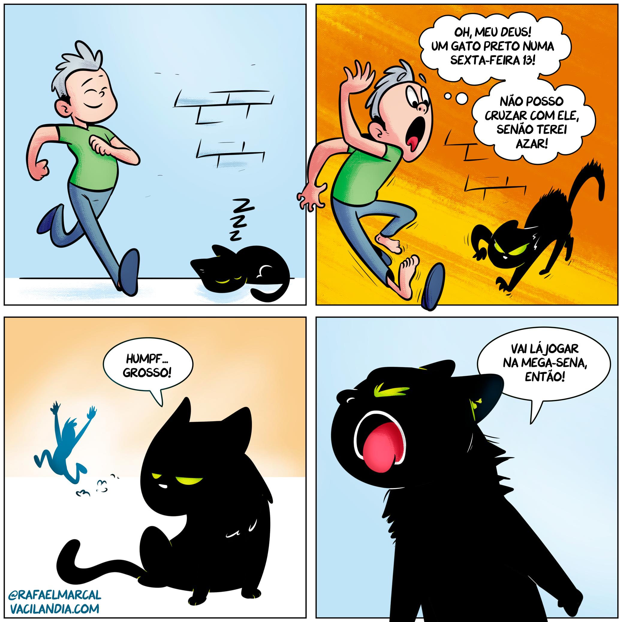 Bocoverso #5 - Sexta-Feira 13 | tirinhas, superstição, sorte, sexta feira 13, quadrinhos, memes, humor, gato preto, bocoverso, bocó, azar