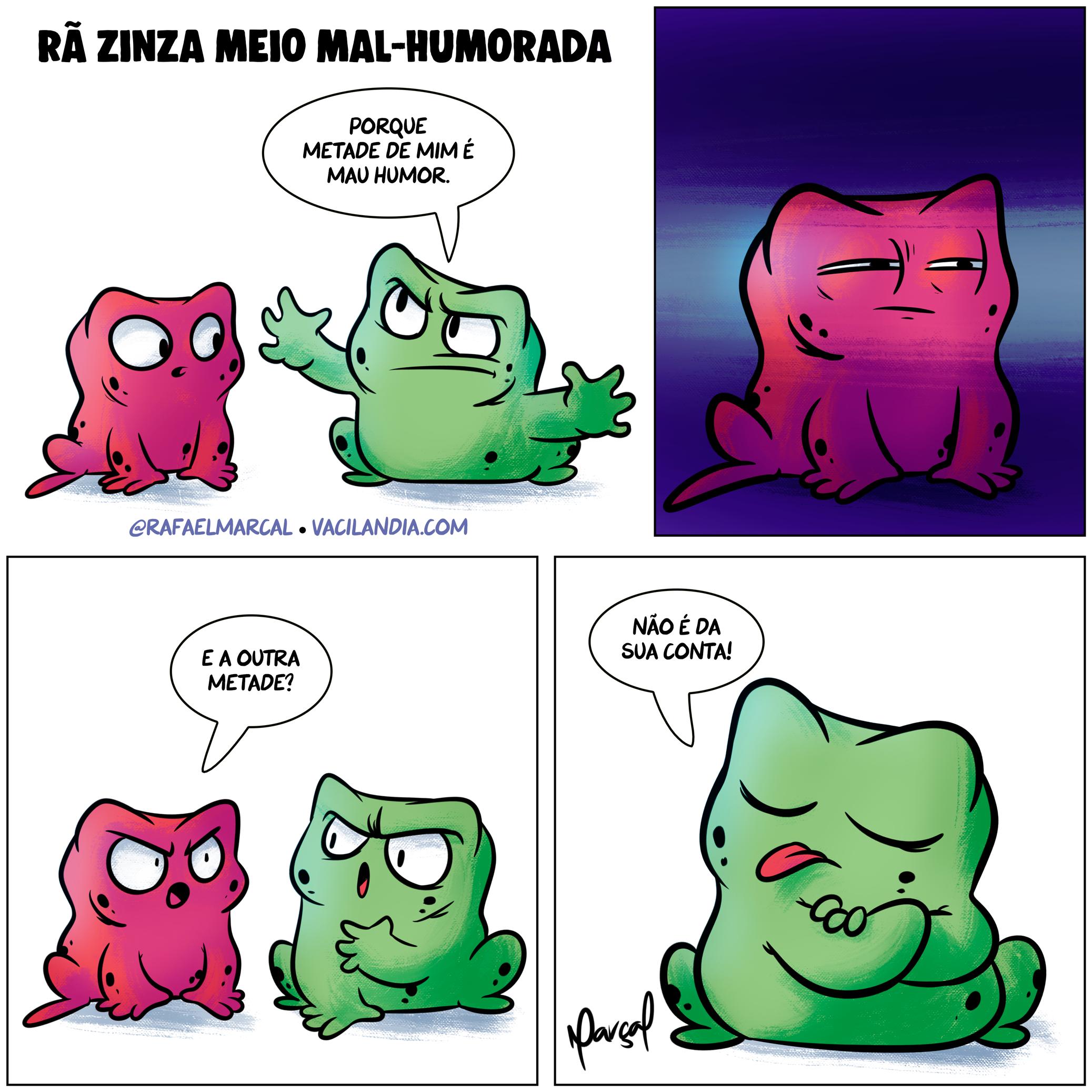 Rã Zinza meio mal-humorada | webcomic, tirinha, rã zinza, quadrinhos, memes, mau humor, mal-humorado, mal humorada, mal educado, ignorância, humor, grosso, comédia, brasileiros