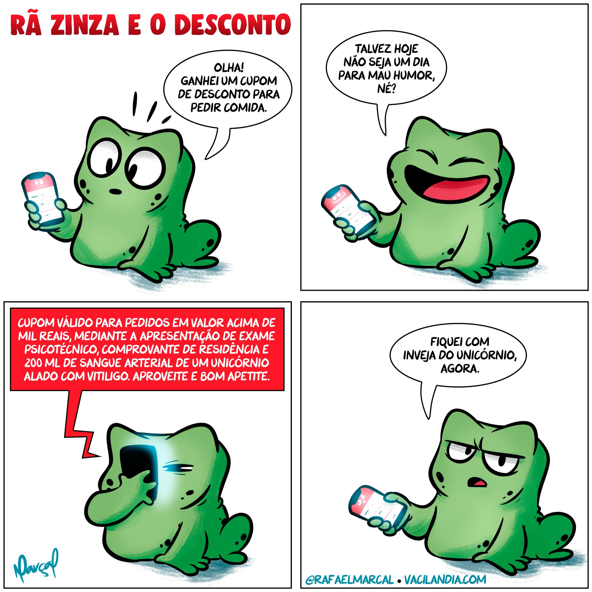 Rã Zinza e o desconto | tirinhas, ranzinza, rã zinza, quadrinhos, pedir comida, observação, memes, ifood, humor, desconto, cupom, comida, celular, asterisco, app