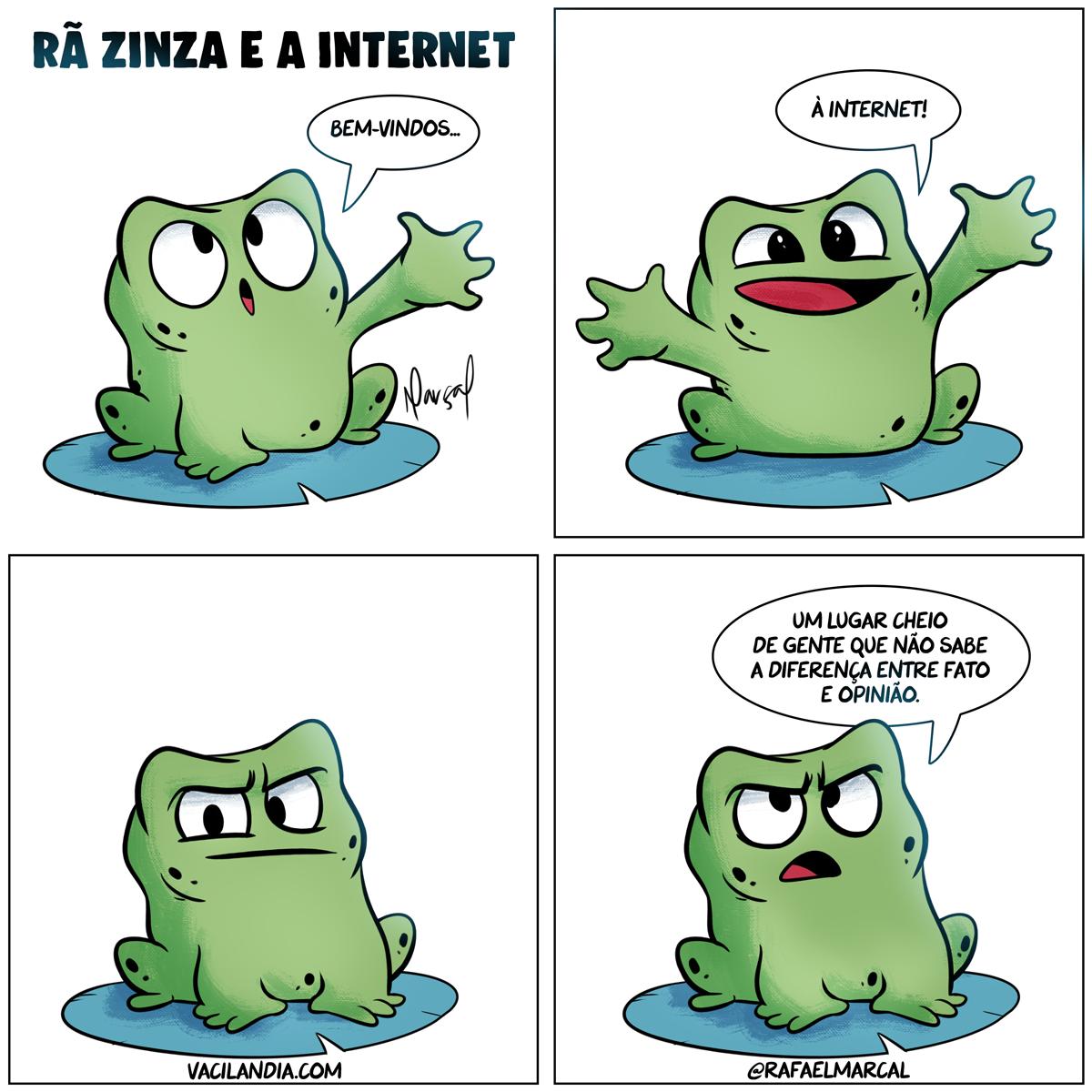 Rã Zinza e a Internet | tirinhas, tirinha, rã zinza, quadrinhos, polêmica, pessoas, opiniões, opinião, mau humor, internet, humor, fatos, fato, comédia