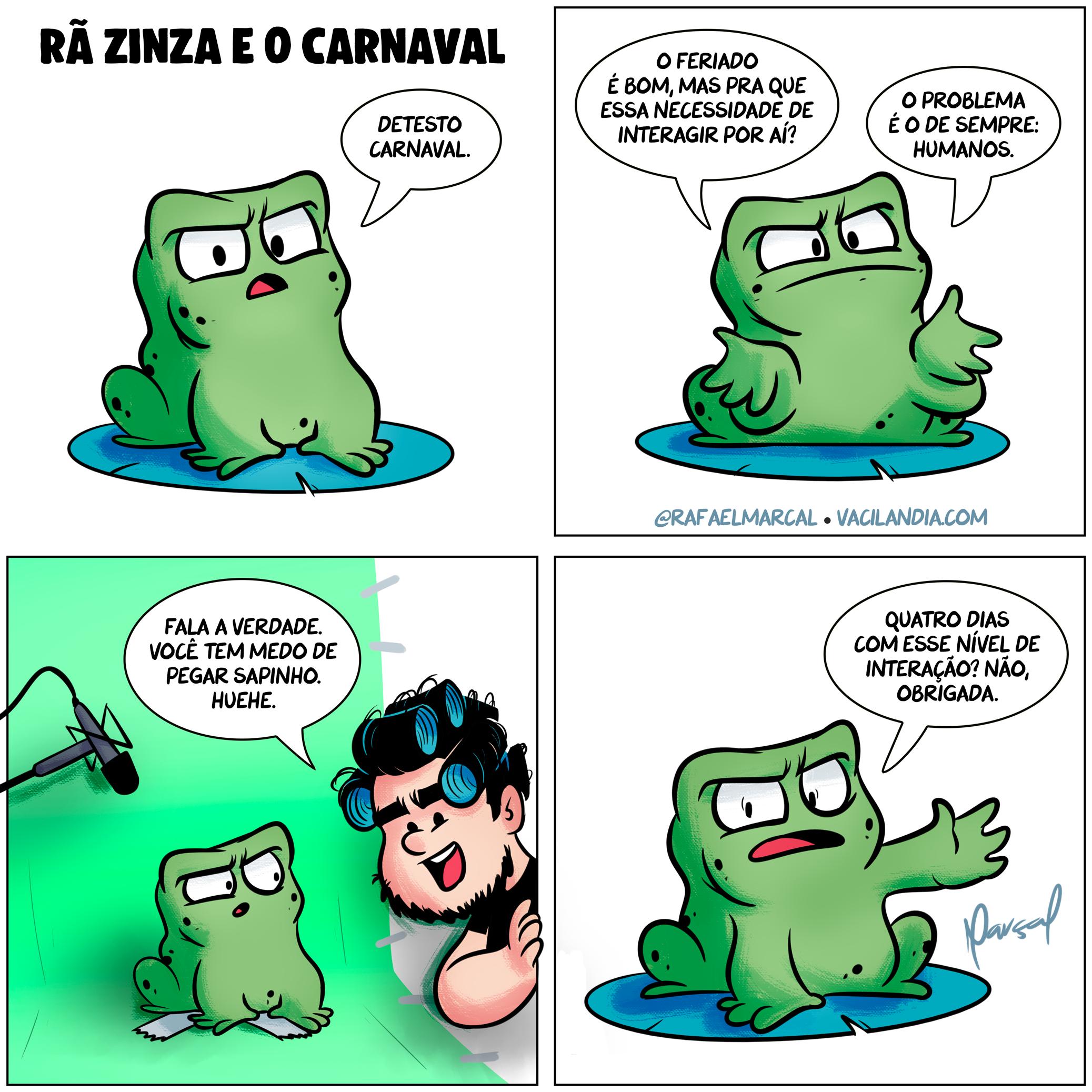 Rã Zinza e o Carnaval 2020 | tirinhas, sapinho, rã zinza, quadrinhos, interagir, interação, humor, herpes, feriado, carnaval