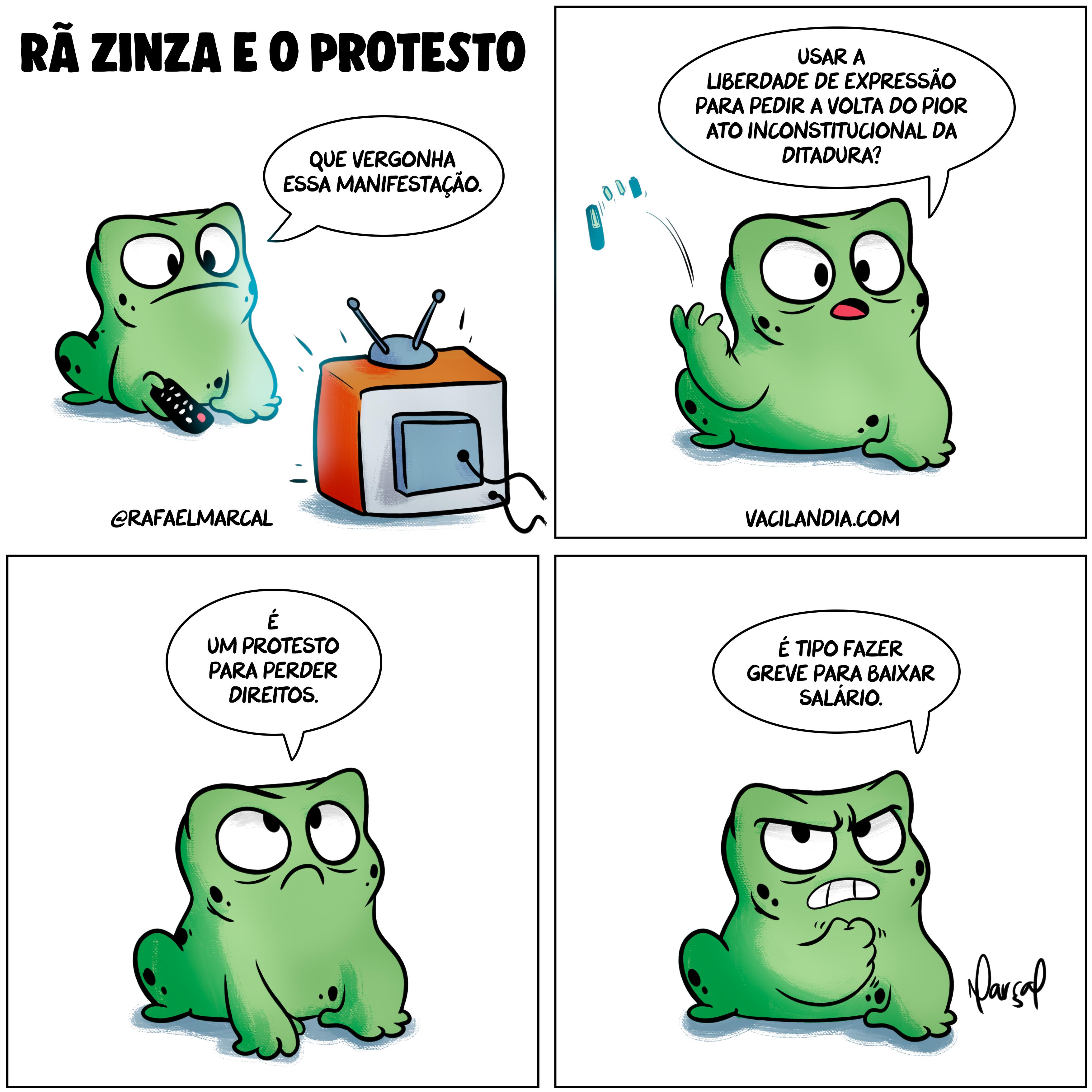 Rã Zinza e o Protesto | zinza, webcomic, tirinha, rã zinza, protesto, liberdade de expressão, humor, Greve, ditadura, comédia, ai-5