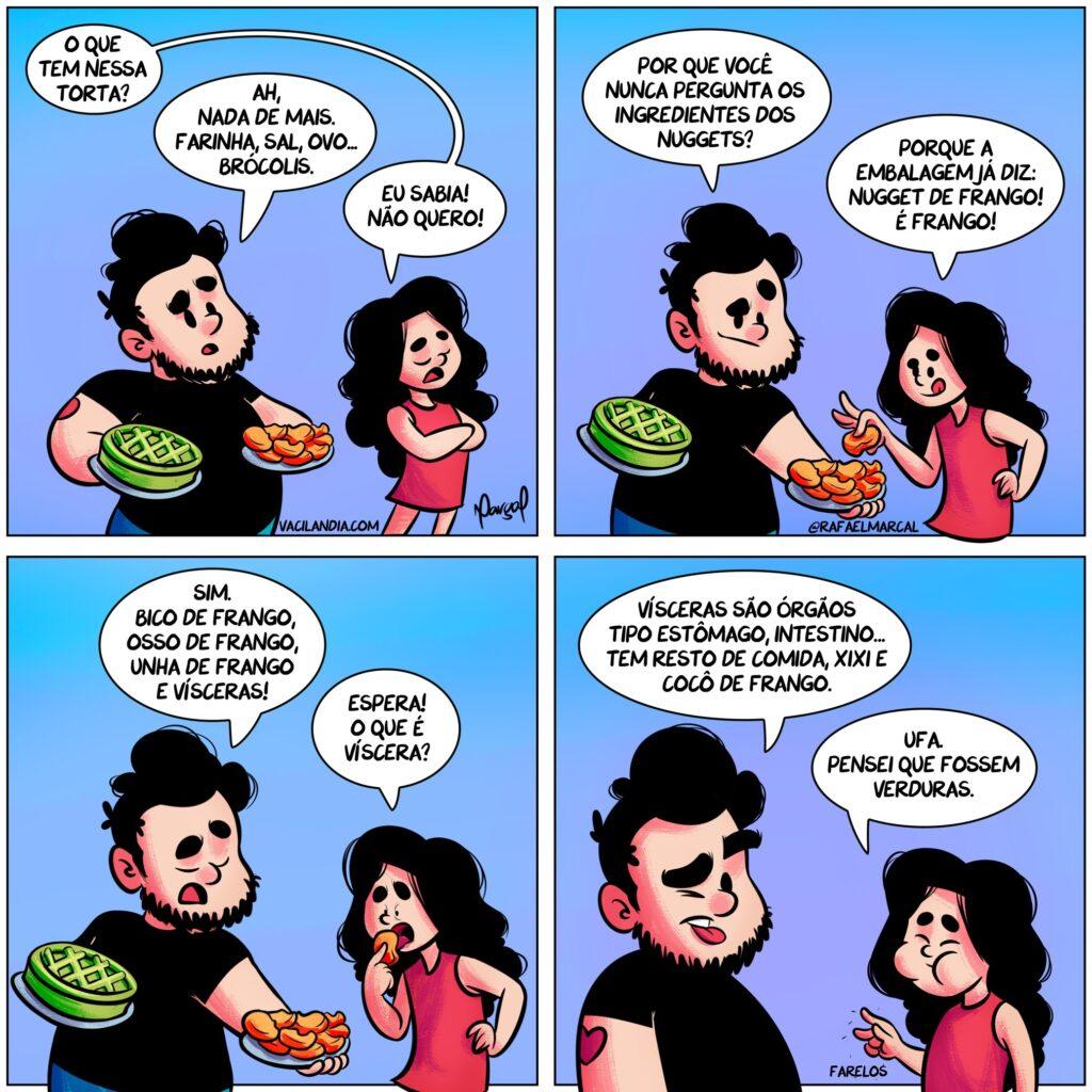 Bocós e o que tem nessa torta? | webcomics, torta, tirinhas, tirinha, sarcasmo, quadrinhos, piada, ironia, Ilustração, humor, comédia, alimentação