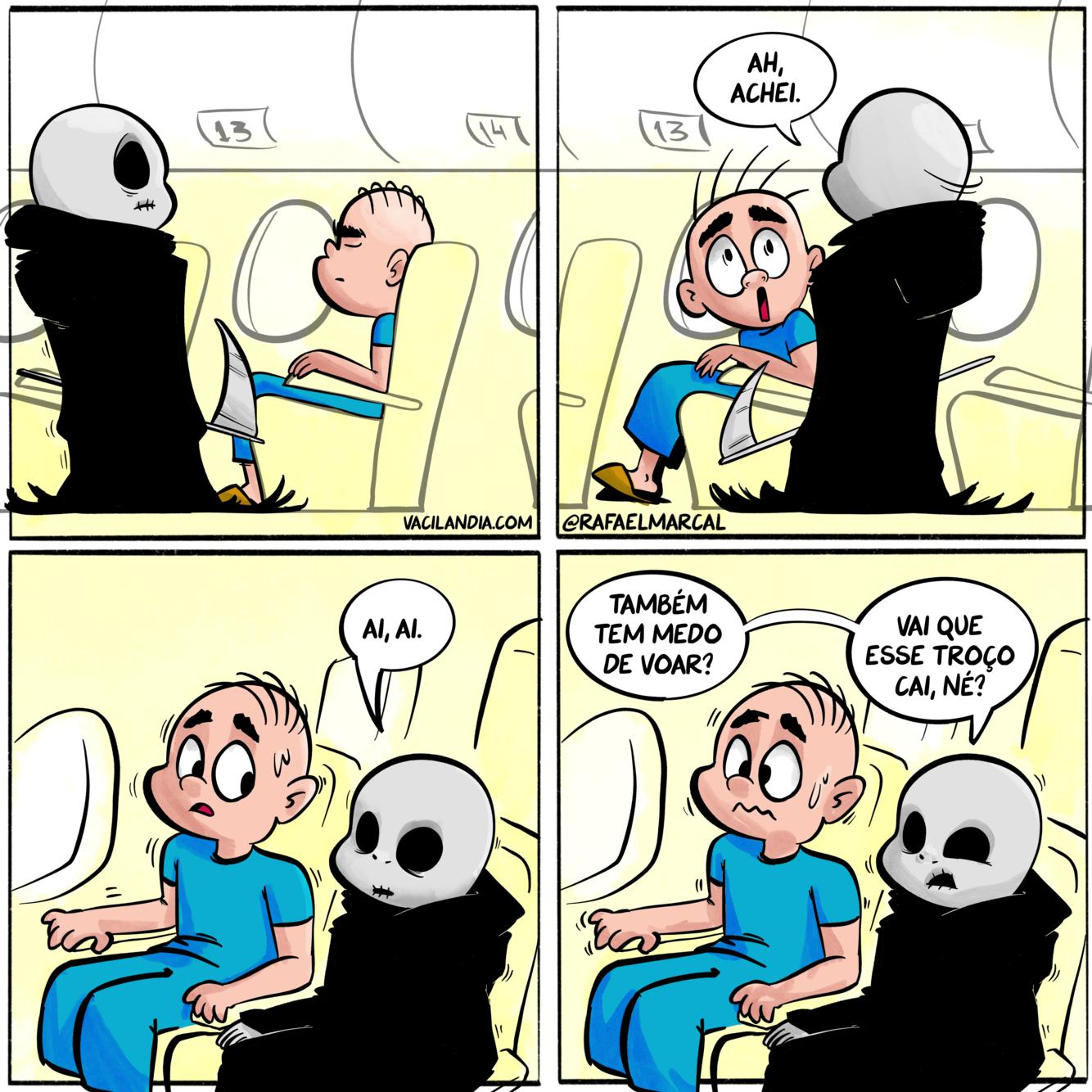 Morte Bocó | webcomic, voar, tirinha, Morte Bocó, morte, medo, humor